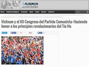 Le journal argentin Resumen Latinoamericano salue le PCV