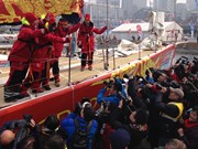 Course Clipper Race 2015-2016 dans la baie de Qingdao (Chine)
