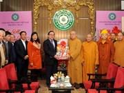 Le secrétaire du Comité du Parti de Hanoï présente ses vœux du Nouvel An aux bouddhistes