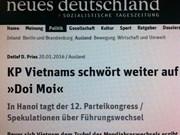 Le 12e Congrès national du PCV dans la presse allemande