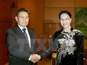 La présidente de l'AN reçoit le président du CC du Front d'édification nationale du Laos