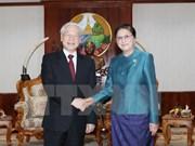 Le chef du PCV s'entretient avec des hauts dirigeants laotiens
