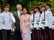 La conseillère d'État du Myanmar effectue une visite officielle à Singapour