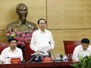 Le président Tran Dai Quang travaille avec les autorités de Nghe An