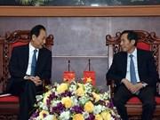 Le président de Xinhua travaille avec des responsables du journal Nhan Dan