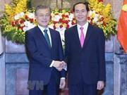 Le président Tran Dai Quang et son homologue sud-coréen président un point presse conjoint