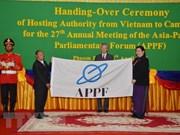 L'AN vietnamienne remet la présidence du FPAP au Cambodge