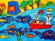 Exposition de peintures d'enfants handicapés à Da Nang