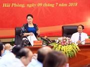 La présidente de l'AN en visite de travail à Hai Phong