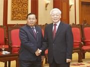Le leader du PCV reçoit le vice-président de l'AN du Laos Sengnouan Xayalath