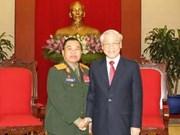 Nguyen Phu Trong reçoit un dirigeant de l'armée laotienne