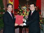 Remise des décisions de nomination aux représentants diplomatiques