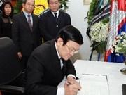 Le président Truong Tân Sang rend hommage à Norodom Sihanouk