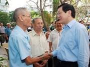 Truong Tân Sang rencontre des électeurs de Ho Chi Minh-Ville