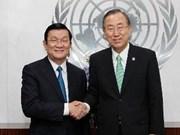Le président Truong Tân Sang rencontre le chef de l'ONU