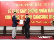 Bac Ninh remet la licence d'investissement à un grand projet de Samsung