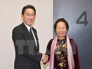 La vice-présidente Nguyen Thi Doan reçoit le ministre japonais des AE