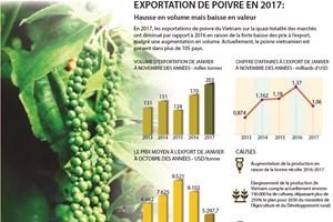 Exportation de poivre en 2017 : hausse en volume mais baisse en valeur