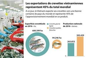 Les exportations de crevettes vietnamiennes représentent 45% du total mondial