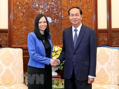 Le président Tran Dai Quang salue les contributions de la diplomate polonaise